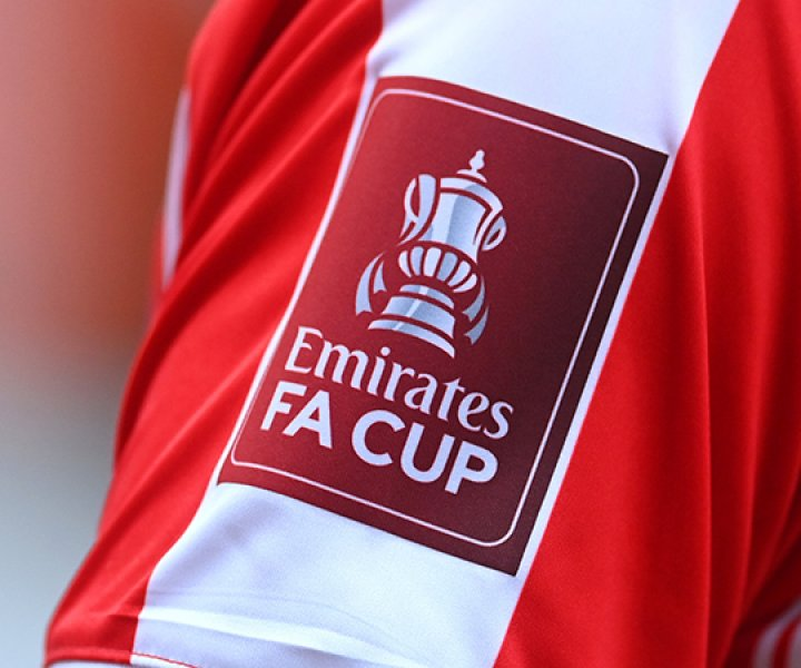 STOKE ON TRENT, ENGLAND - JANUARY 09: A detailed view of the Emirates FA Cup badge is seen on a Stoke City sleeve during the FA Cup Third Round match between Stoke City and Leicester City at Bet365 Stadium on January 09, 2021 in Stoke on Trent, England. The match will be played without fans, behind closed doors as a Covid-19 precaution. (Photo by Michael Regan/Getty Images)